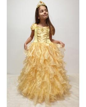 Много пищна и луксозна рокля на Бел с обръч и коронка