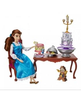 Оригинален Дисни комплект кукла Бел и 12 части аксесоари за вечеря