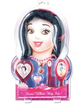 Подаръчен комплект на Снежанка включващ перука,четка за коса,гребен,колие,пръстен и бляскав детски гланц за устни